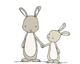 Bunny Nursery Art -- Take My Hand Little Bunny -- Woodland Nursery -- Nursery Art Print, Children Art Print -- Kids Wall Art