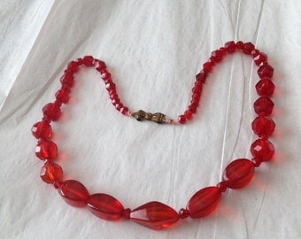 Red Glass Bead Necklace Luscious