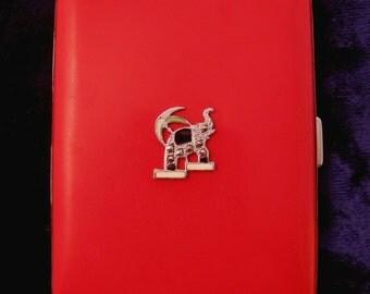 Art Deco Evans Elephant Cigarette Case Enamel & Marcasites