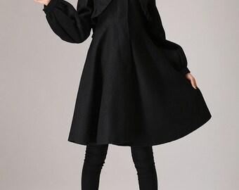 wool jacket,Black jacket,wool coat, winter jacket,long jacket,designer clothing,made to order, ladies clothing, gift for her, coat dress 775