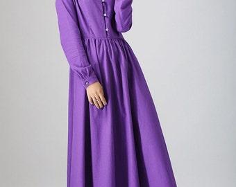 violet dress,purple dress, shirt dress,  women dresses, maxi dress,  long linen dress, long sleeve dress, handmade dress  (799)