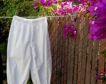 Ready now!  Womens LARGE WHITE Basic Bloomers Frugal Frills No Lace