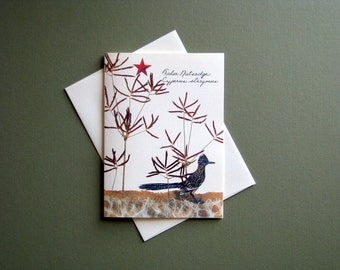 Nutsedge grass with Roadrunner, nature card, Texas star, greeting card no.1186