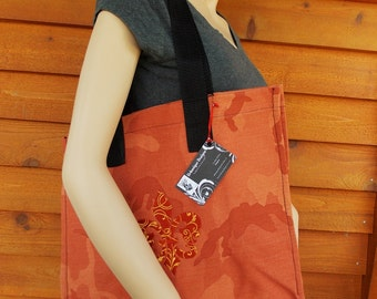 Heavyweight Orange Camouflage Fleur D' Lis Embroidered Tote