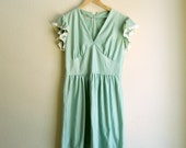 70s Sea Green Mini Dress with V Neck and Gathered Skirt