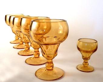 "Vintage Yellow Amber Margarita Glasses / Hand blown / Wine Glasses / Pedestal / Vintage goblet set of 5 and shot  5"""