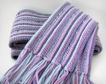 Pastel Stripes - Merino Wool Knit Scarf, crochet striped scarf