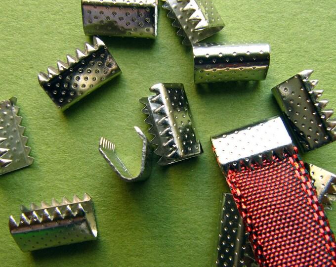 20pcs. 10mm or 3/8 inch Silver No Loop Ribbon Clamp End Crimps