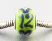 Handmade Big Hole Charm Bead for Seahawk Football Fans, Team Spirit, Jewelry, Lampwork Glass