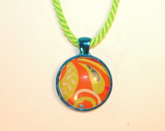 Handmade Burst of Neon Colors Tangerine and Lime Glass Pendant