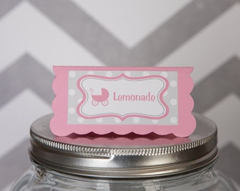 Pink Carriage Theme Food Tents - Menu Cards - Place Cards - Food Signs - It's a Girl Carriage Baby Shower Decorations in Pink and Grey (6)