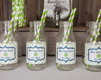 Frog Themed Water Bottle Labels - Frog Baby Shower Decorations - Frog Labels in Navy Blue and Green (12)