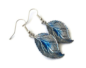 "Leaf Earrings, Dangle, Blue, Glitter, Sparkle, Metal, Metallic, Dipped, Glazed, 2"", Sapphire, Royal, Aqua, Fall, Autumn, Fresh, Lush, Silver"