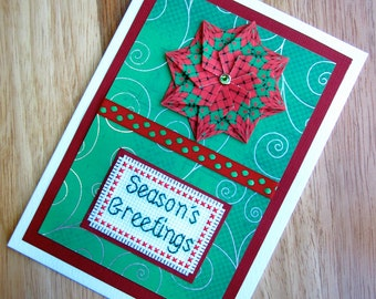 SALE 50% OFF - Season's Greetings Cross Stitch Christmas Card with Tea Bag Folded Flower in Green and Red