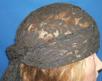 Do Rag Brown Lace Head Wrap Biker Do Rag Skullcap for Motorcycle Riding or Chemotherapy Patients