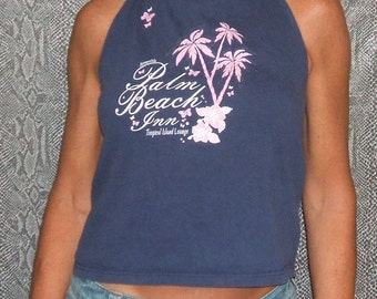 Halter Top, Medium, CLEARANCE 6.00! Aeropostale Palm Beach Inn Recycled T Shirt Halter Top Upcycled Fashion Repurposed Clothing