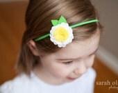 White & Yellow Daisy Felt Flower with Green Elastic headband