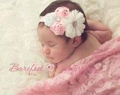 Pink & White Headband, Baby Girl Headband, Infant Flower Headband or Hair Clip, Flower Girl Headband, Newborn Headband, Child Baby Headbands