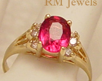 Pretty'n Pink Tourmaline & Diamond 14K Gold Estate Ring