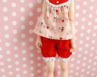 Outfit Dollfie MSD Unoa Volks 43cm doll red cartoon blouse and short pants
