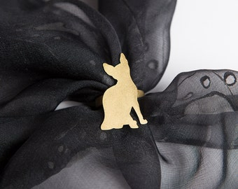 Unique Hand Made Brass Scarf Ring for Sphynx Cat Lovers with  Cat Silhouette Golden Color