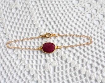 OOAK Faceted Raw Ruby Bezel Set Stone Bracelet on Gold Vermeil Chain