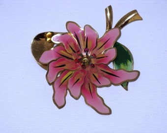 Vintage Pink Enameled Abstract Floral Brooch Pin (B-2-6)