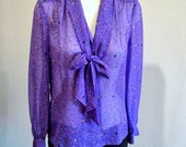 Vintage Sheer Purple Stars and Moon Secretary Blouse with Tie from Hurray Kimmay