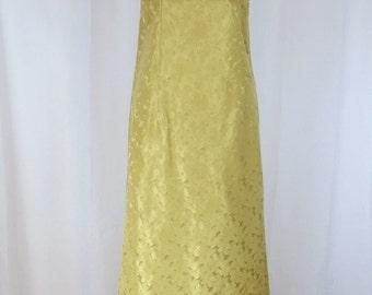 1970's Boho orange velvet and Golden yellow brocade Maxi dress size XS