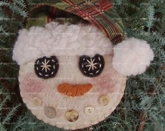 Primitive Snowman PATTERN  PDF Ornament Tutorial Instant Digital Download I.C. Flakes by Happy Valley Primitives