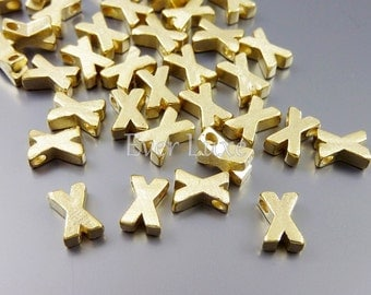 Initial X, petite satin gold alphabet beads, initial necklaces, personalized jewelry, charms / jewelry supplies 1891-SG-X (gold, X, 4 pcs)