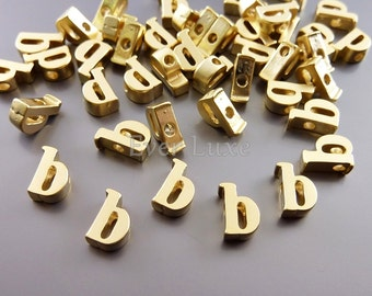 2 initial earrings letters b in lowercase and smooth matte gold / initial alphabet beads 1947-MG-B