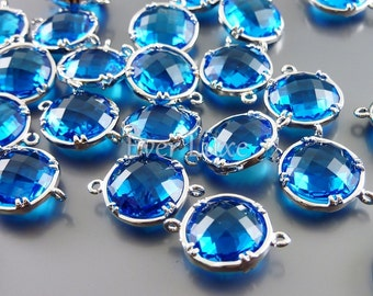 2 capri blue 12mm glass connectors, faceted round glass links, glass jewelry 5014R-CB-12 (bright silver, capri blue, 12mm, 2 pieces)