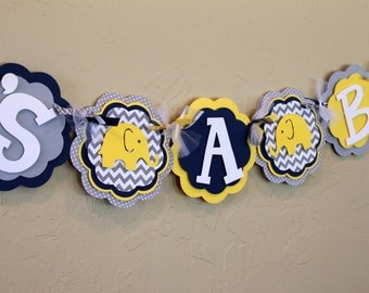 Its A Boy or Name Banner Elephant Chevron Stripe Polka Dot Yellow Navy Blue Gray Baby Shower Birthday Party Decorations Banner