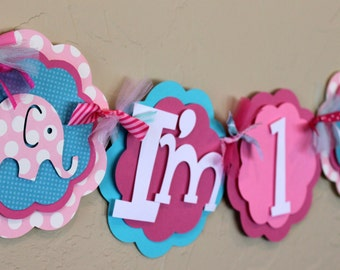 """Elephant  Hot Light Pink Turquoise Polka Dot """"I'm 1"""" High Chair Age Banner Girl Baby Shower Birthday Decorations Wedding Love Shabby Chic"""