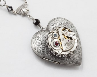Steampunk jewelry Steampunk Necklace Heart Locket vintage watch movement gears black red garnet crystal silver leaf pendant Statement Gift