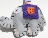 Felt bead elephant keychain