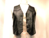 Leather Child Vest // Cowboy or Cowgirl - Black