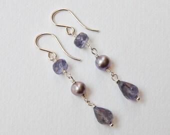 Iolite and Pearl Earrings - Sterling Silver Beaded Briolette Drop Earrings Beadwork Earrings Sapphire Earrings