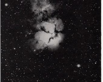 1946 nebula trifid original vintage celestial astronomy print - galaxy M20 sagitarius