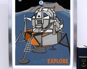 Science Poster Art Print Apollo 11 Lunar Mission Module Explore Stellar Science Series - Wall Art