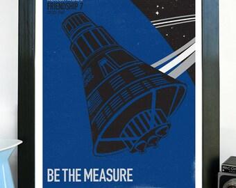 LARGE - Mercury Friendship 7 Spacecraft - Be The Measure, Science Poster, Art Print, Stellar Science Series