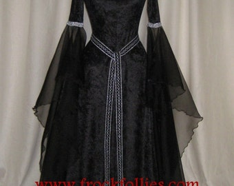 "Halloween Gown,Renaissance Gown,Medieval Dress,Gothic Gown,Hand Fasting Dress,Pagan Dress,Pre Raphaelite Gown,Robe Elfique,""Gwyneth"""