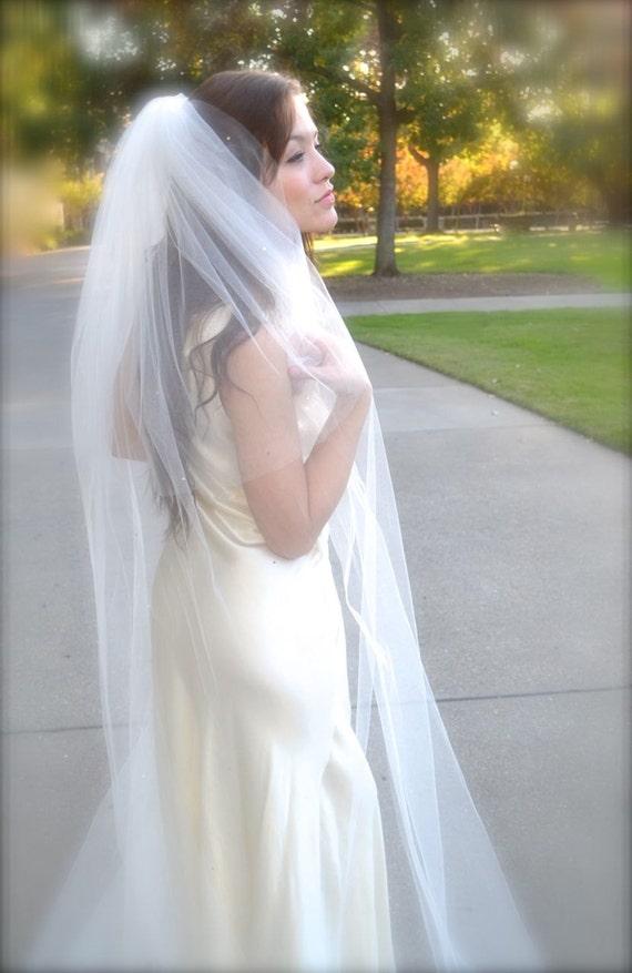"Traditional Wedding Veil Cathedral Veil with Blusher 108"" 72"" soft bridal veil elbow, fingertip blusher cut edge 2 tier soft wedding veil"