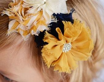 Mustard hard headband, navy headband, flower headband, girl headband, wedding flower girl gift, birthday gift, hair accessory, cream flower