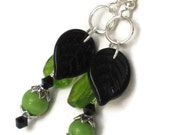 Green Black Leaf Earrings, Dangle Earrings, Gifts for Women, Gifts Under 10, Gifts for Mom, Christmas, Black Friday, Cyber Monday