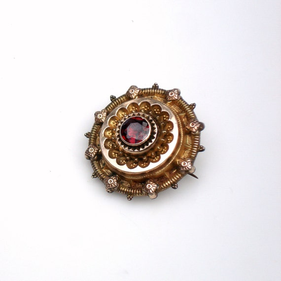 SALE ~ Victorian Gold Mourning Locket Brooch with Garnet