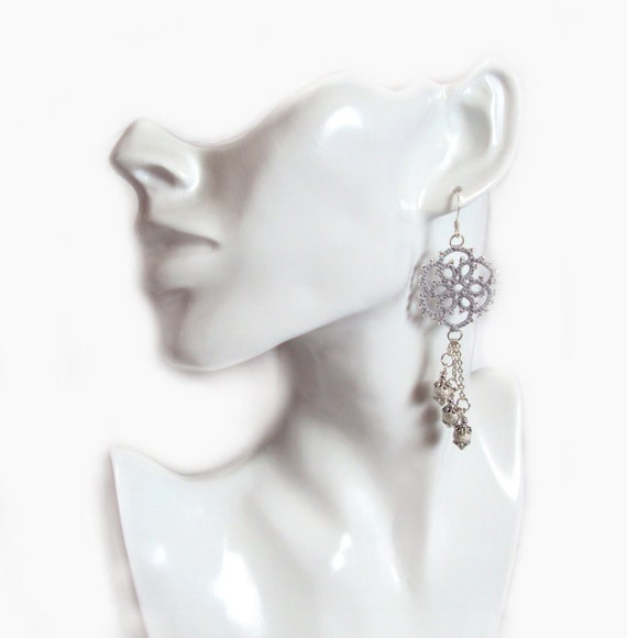 Lace Fashion Tatted Dangle Earrings , Silver - Aster - One Of A Kind