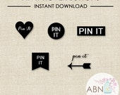 INSTANT DOWNLOAD - Social Media Icons - Pinterest Hover Buttons - Black Set - By A Blissful Nest