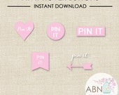 INSTANT DOWNLOAD - Social Media Icons - Pinterest Hover Buttons - Pink Set - By A Blissful Nest
